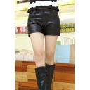 Junior's Faux Leather Mid Waist Short
