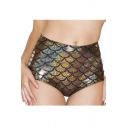 Women's High-Waist Mermaid Fish Scale Shorts