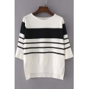 Stripe Round Neck Dip Hem Sweater