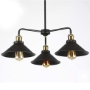 Wrought Iron 3 Light 1 Tier Industrial LED Chandelier with Metal Shade