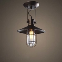 Old Copper 12'' Wide Single Light LED Close to Ceiling Light with Wire Cage