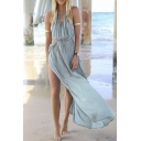 Women's Blue Cut Away Open Waist Split Holiday Beach Maxi Sundress