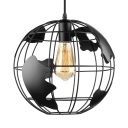 Chic Single Light Globe Shade Mini LED Hanging Pendant for Kids in Black