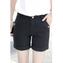 Women Chic Casual Plain Turn Up Shorts