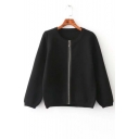 Chic Plain Women Round Neck Kint Zipper Front Sweater Knitwear Tops