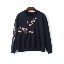 Chic Flower Embroidery Long Sleeve Sweatshirts