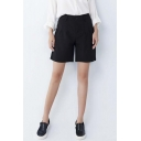 Women's Button Fly Plain Shorts