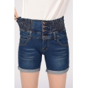 Women's Casual Smocked Waist Button Front Plus Size Denim Shorts