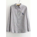 Women's Collared Embroidered Button Front Striped Shirt