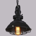 Cool Black 11'' W Single Light LED Pendant Light with Cage