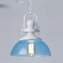 1 Light Bowl Hanging Light Modernism Ocean Blue Glass Shade Pendant Lamp in White Finish