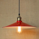 Red Finished Single Light Industrial Saucer Shade Hanging LED Pendant Lamp