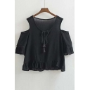 Best Seller Tie Neck Cut Out Shoulder Ruffle Hem Loose Blouse
