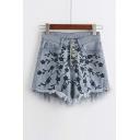 Cool Raw Hem High Waist Embroidery Hot Denim Shorts
