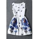 Womens White Contrast Blue Porcelain Print Flare Sleeveless Vintage Floral Dress