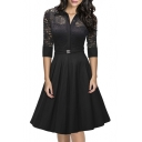 Women's Vintage 1950s Style 3/4 Sleeve Black Lace Flare A-line Dress
