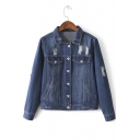 Cool Girl Distressed Detail Long Sleeve Denim Jacket