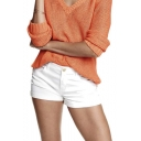 Womens Solid Color Fitted Low Waist Casual mini Shorts