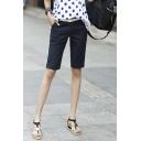 Casual Women Plain Knee Length Short Pants