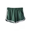 Women Solid Colored Elastic Drawstring Waistband Summer Shorts