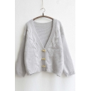 Women's V-neck Loose Buckled Knitwear Coat