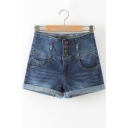 Womens Stretchy Button Details High Waisted Denim Shorts with Pockets