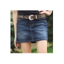 Women's Denim Color Mini Shorts With Pocket