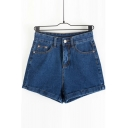 Women's Midi Waist Rise Super Stretch Denim Short