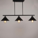 Vintage Industrial 3 Light 1 Tier Island Pool Table LED Pendant Chandelier in Black