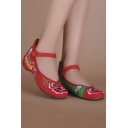 Women's Floral Embroidered Round Head Flat Shoes