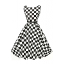 Sleeveless Vintage Babydoll Dress with Belt