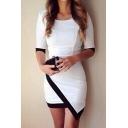 Round Neck Half Sleeve Asymetrical Hem Bodycon Dress