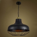 Black 1 Light Large Industrial LED Pendant Lighting with Wire Cage Design