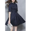 Women's Collar Tie Waist Plain Half Length Shirt Dress