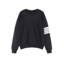 Women's Korean Stripes Sleeve Hoodies Pullover Loose Sweater Sweatshirts