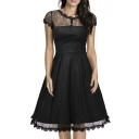 Women's Retro Floral Lace Cap Sleeve Vintage Midi A-Line Dress