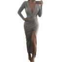 Sexy Ruched Plunge Irregular Curved Hem Front Vent Split Slit Maxi Long Dress Grey