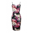 Womens V Neck Sleeveless Cami Stretch Pencil Bodycon Midi Dress