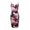 Womens V Neck Sleeveless Cami Stretch Pencil Bodycon Midi Dress