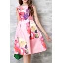 Chic Boat Neck Sleeveless Floral Print A-Line Midi Lady's Dress