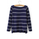 Boat Neck Long Sleeve Striped Knitwear