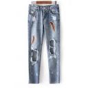 New Fashion Ripped Cut Out Design Women Boyfriend Jeans