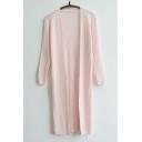 Women's Plain Llong Sleeve Thin Long Coats