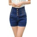 Women's High Waist Single-Breasted Denim Shorts