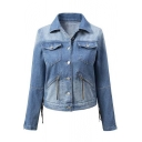 Fashionable Tassel Back Zip Detail Long-sleeved Denim Jacket
