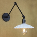 Scalloped Edge Single Light Industrial Adjustable LED Wall Light