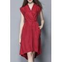 Women's V-neck Tie Waist Plain Ruched Midi Dress