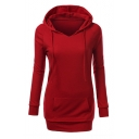 Women's Long Sleeve Panel Hooded Casual Sweatshirt