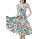Vintage Swing Midi Dress-Women 1950s Vintage Knee Length Party Cocktail Dress