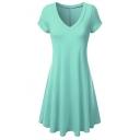 A-Line Plain V-Neck Short Sleeve Chic Dress